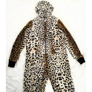Cheetah Leopard Animal Print Onesie Pajama Lounge